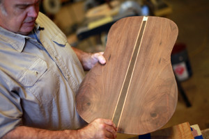 Luthier Michael Kerry in his guitar shop
