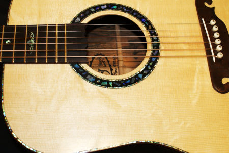 Custom Handmade Dreadnought Acoustic Guitar (Opal)