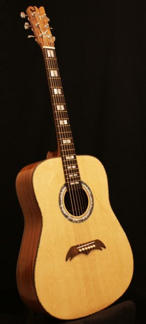 Custom Handmade Dreadnought Acoustic Guitar (White Flame)